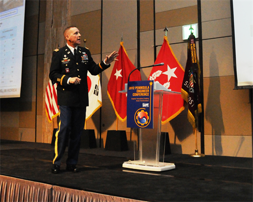 Col. Donald E. Degidio, Jr., Commander of the U.S. Army Corps of Engineers, Far East District, gives his presentation during the Society of American Military Engineers Peninsula Engineer Conference April 4.  Degidio introduced SAME members to the role FED plays in both armistice and contingency as an integral part of the ROK-U.S. Alliance.