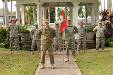 565th Engineer Detachment, Forward Engineer Support Team-Advance (FEST-A) Commander Maj. William Hannan (front) will lead the eight-man Honolulu District-based team on deployment to support Operation Enduring Freedom in Afghanistan.