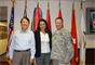 Eugene M. Ban, director of Programs (left), and Col. Gregory J. Gunter, commander of the Pacific Ocean Division, welcome U.S. Representative Tulsi Gabbard to Fort Shafter March 27. Leaders from the Pacific Ocean Division and Honolulu District hosted a visit by the U.S. Congresswoman and provided her an overview of the U.S. Army Corps of Engineers' mission and capabilities in the Asia-Pacific region.